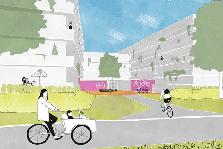 Grafik mit Neubauten und Fahrrädern