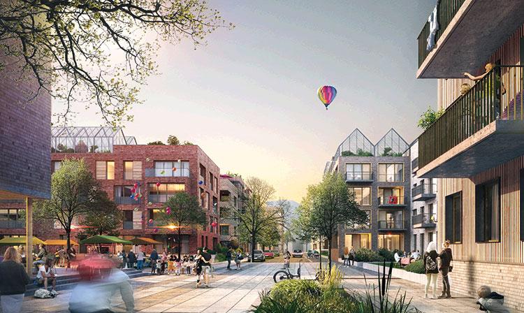 Wohnhäuser und Promenade