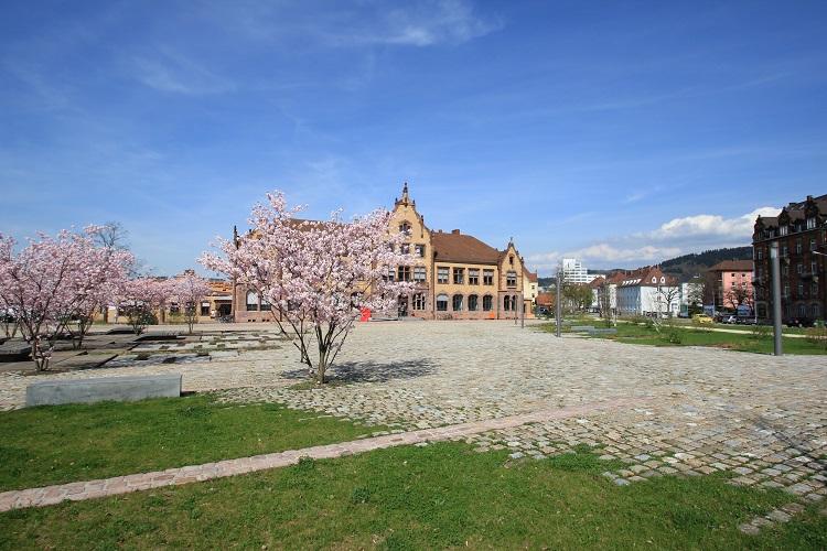 Blühende Bäume vor historischem Industriegebäude